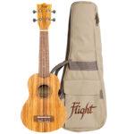 Flight DUS322 Soprano Ukulele Zebrawood With Bag