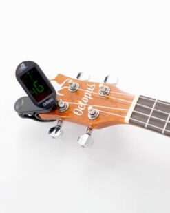 Octopus Clip-on Tuner with LCD screen on the ukulele