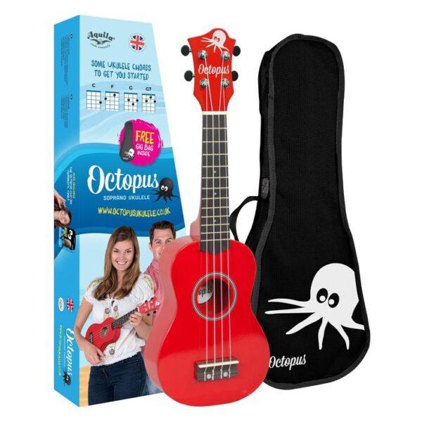 Octopus metallic series soprano ukulele Red with box