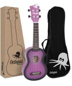Octopus matt burst series soprano ukulele Purple burst with box